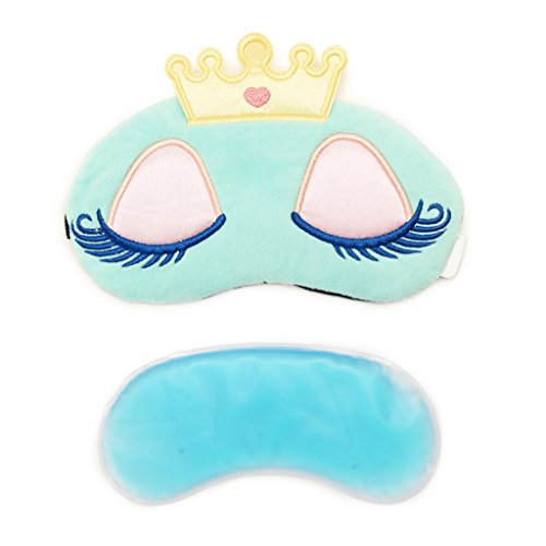 Beauty Sleep Eye Mask, with Cooling & Warming Gel Pad to Prevent Puffy Eyes, Good for Travel, Meditation and Sleeping (1pc, Green, Cute Crown Long-lashed Princess)