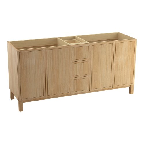 Kohler K-99512-Lg-1Wf Jacquard 72-Inch Vanity With Furniture Legs, 4 Doors And 3 Drawers, Khaki White Oak front-624363