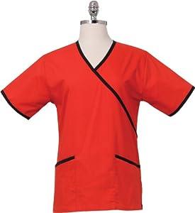 Chef Works FESS-RED-XXS Women's Medical Scrub Top, Red/Black, XXS