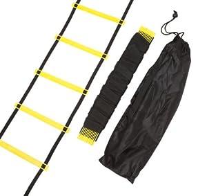 Trademark Innovations Agility Ladder - 12 Rungs Training Ladder in Black & Yellow