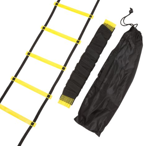 Trademark Innovations Agility Ladder 12 Rungs Training Ladder, Black/Yellow