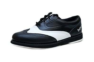 Bowlio Pro Series Strike Classic - Bowlingschuhe aus Leder für Damen und Herren in Schwarz und Weiß, Größe:36