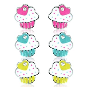 Cup Cake Earring Set with Free Gift Bag, optional matching necklaces and adjustable childrens rings available - arrives in a pretty gift bag.