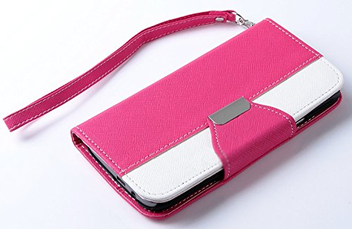Mylife Rose Pink And Bright White {Two Color Classic Design} Faux Leather (Card, Cash And Id Holder + Magnetic Closing) Slim Wallet For The All-New Htc One M8 Android Smartphone - Aka, 2Nd Gen Htc One (External Textured Synthetic Leather With Magnetic Cli