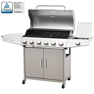 broil-master® BBQG04EUsilver Professional Stainless Steel 6 Burner Gas Wagon Barbecue with Side Burner 6+1 Silver