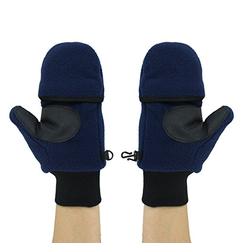 Navy Winter Fleece Flip Top Mittens, Convertible