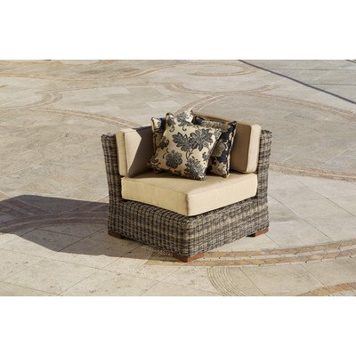 RST Brands OP-PE36C-LNK-WG Resort Collection 36-Inch Corner Section Rattan Patio Furniture, Weathered Gray photo