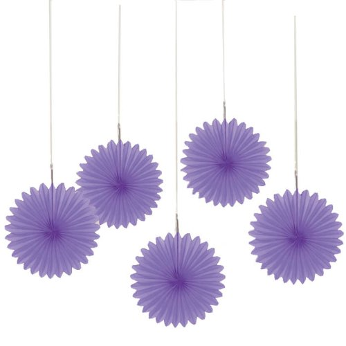 "Amscan New Mini Hanging Fan, 6"", Purple"
