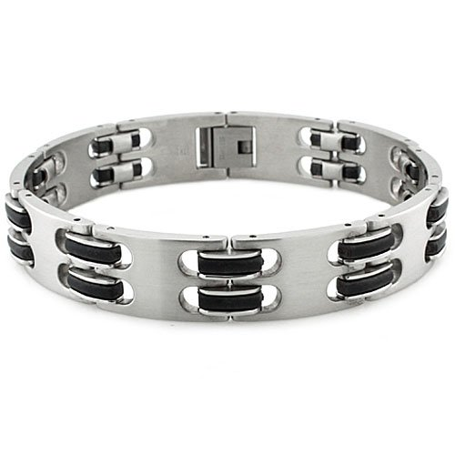 Men's Stainless Steel Black Rubber and Brushed Satin Finish Links Bracelet - 8.5 Inches