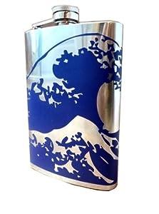 Kanagawa Wave Flask- 6, 8 Ounce - Custom, Personalized- Many Colors (8 Ounce, Dark Blue - Matte)