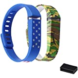 Mudder Replacement Accessory Kits for Fitbit Flex - 2 PCS Wristbands Replacement Bands Bracelet With Clasps + 1 PCS Silicone Fastener Ring, Fix the Clasp Fall off Problem - Secure Your Wristband in Style