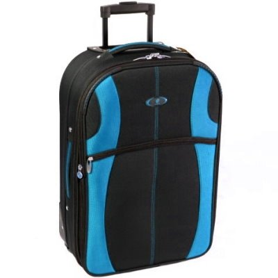 Azure Large 26 Inch Super Lightweight Suitcase (Black/Blue)