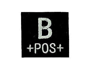 Patch ecusson brodé airsoft tactical militaire groupe sanguin thermocollant noir - B+