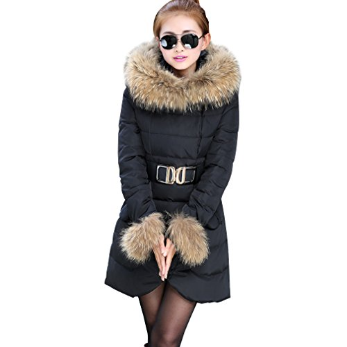 Komene Abrigo de invierno delgado larga con cuello de pelo de imitacion caliente para mujer talla M