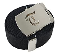 "Old English Initial ""T"" Canvas Military Web ""Black"" Belt & Silver Buckle 60 Inch"