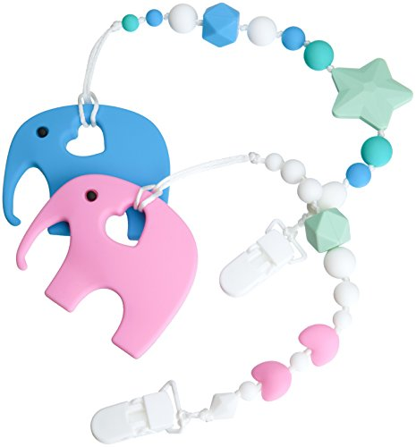Teether Pacifier Clip + Elephant Teething Toy, Girl or Boy Set For Babies, With 100% BPA Free Silicone, Best Holder For Binky, WubbaNub, NUK, Soothie AVENT And MAM Pacifiers - Trendy Baby Shower Gift