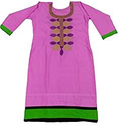 Clickedia Girl's & Women's Semi Stitched Cotton Purple Embroidered Semi-Stitched Kurti