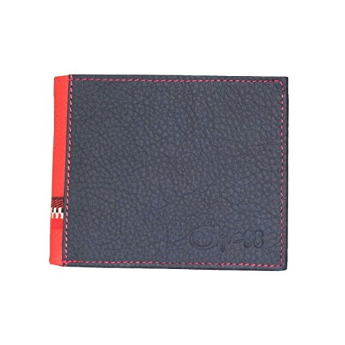 Style98 Black And Red Genuine Leather Designer Wallet With Coin Pocket For Men