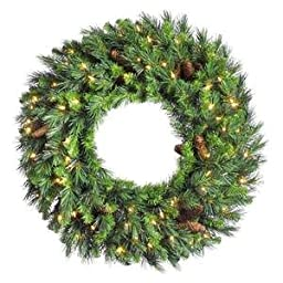 Vickerman Cheyenne Wreath, 36-Inch, Pine Green