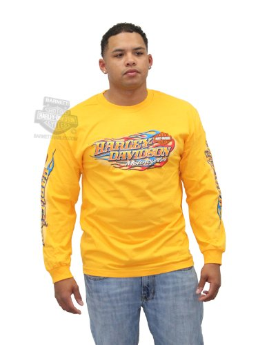 Harley-Davidson Mens Driven H-DMC Flames Yellow Long Sleeve T-Shirt - LG