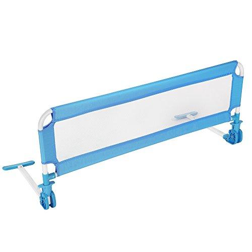 TecTake Barriera per letto da bambini sponda ribaltabile pieghevole universale 102cm - disponibile in diversi colori - (Blu)