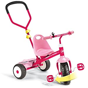 Radio Flyer Girls Deluxe Steer and Stroll Trike, Pink