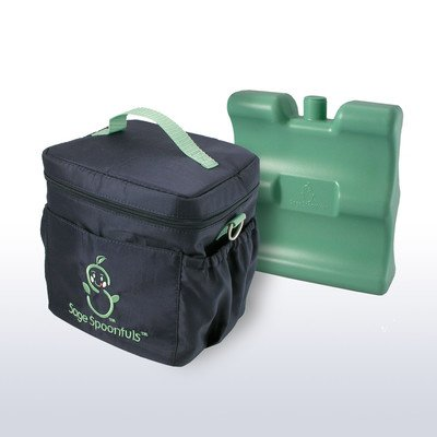 Sage Spoonfuls Baby Food Insulated On-the-Go Cooler Bag with Freezer Pack BPA Free - Black/Green - 1