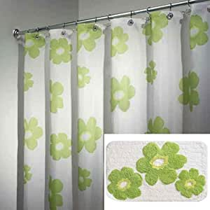 Green Poppy Fabric Shower Curtain With Matching Rug By Interdesign
