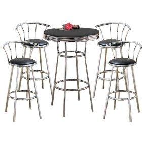 MAN CAVE Metal Bar Table Pub Set With 4 Swivel Seat Bar Sto