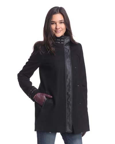 Circus by Sam Edelman Women's Wool Coat with High Studded Collar  [Black]