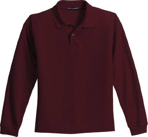 Port Authority - Youth Silk Touch Long Sleeve Sport Shirt. Y500LS - Large - Black - Burgundy
