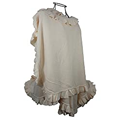 Women Ruffle Edge Poncho Knitted Shawl Premium Lady Soft Knit Cape Jacket Fashion Scarf Stretchy Wrap Over Solid Color Girl Large Shawl Elegant Cloak Warmer - Cream