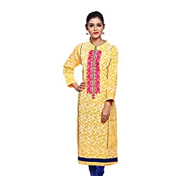 Saamarth Impex Women Cotton Yellow Color Embroidery Work Collar Neck A Line Style Kurti SI-2877