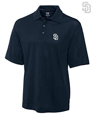 San Diego Padres Mens DryTec Championship Polo Shirt Navy Blue