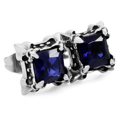 Sapphire Square CZ Stainless Steel Men Stud Earrings