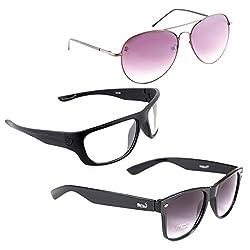 Elligator Stylish Aviator Spartiate Purple And White Nightvision With Black Wayfarer Sunglasses Combo ( Set of 3 )