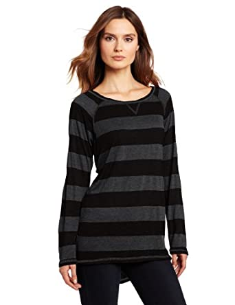 allen allen Women's Stripe Long Sleeve Raglan Crew Top, Black, Large