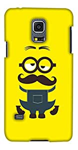 PrintHaat 3D Hard Polycarbonate Designer Back Case Cover for Samsung Galaxy S5 Mini :: Samsung Galaxy S5 Mini Duos :: Samsung Galaxy S5 Mini Duos G80 0H/Ds :: Samsung Galaxy S5 Mini G800F G800A G800Hq G800H G800M G800R4 G800Y (big beard man in sad mood on yellow background :: in blue and brown)