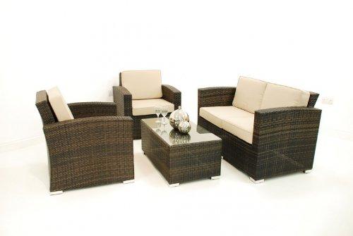 Florida Rattan Gartenmöbel sofa Tisch, 4 Stück, braun