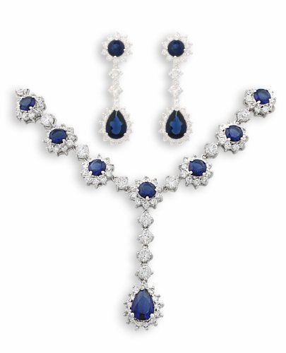 JanKuo Silver Tone Prom and Bridal Sapphire Blue Pendant Cubic Zirconia CZ Necklace and Earrings Set with Gift Box