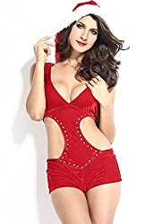 Qurves-Hooded Rhinestone Sexy Christmas Romper Suit