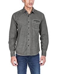 Zovi Men's Cotton Slim Fit Grey Solid Casual Shirt With Cold Pigment Dyeing Effect - Full Sleeves (10910103701)