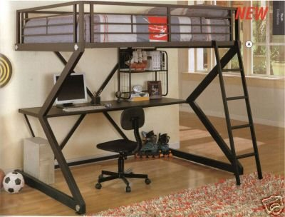 Black Workstation Loft Bed