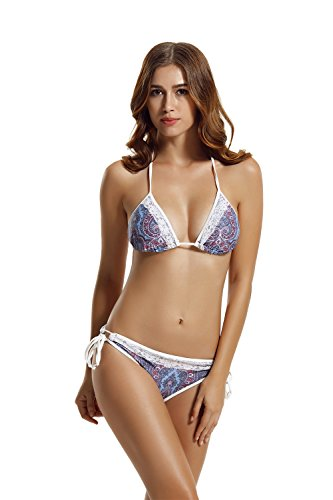 Zeraca Women's Tie Side Pantie Lace Triangle Bikini Set ...