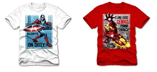 Superhero Marvel T- Shirts for Boys, Pack of 2 (Captain America  + Ironman)