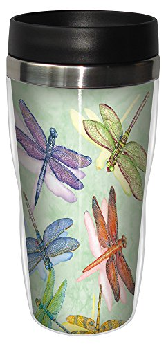Tree-Free Greetings 25500 Wendy Russell Dragonflies Sip 'N Go Stainless Lined Travel Mug, 16-Ounce