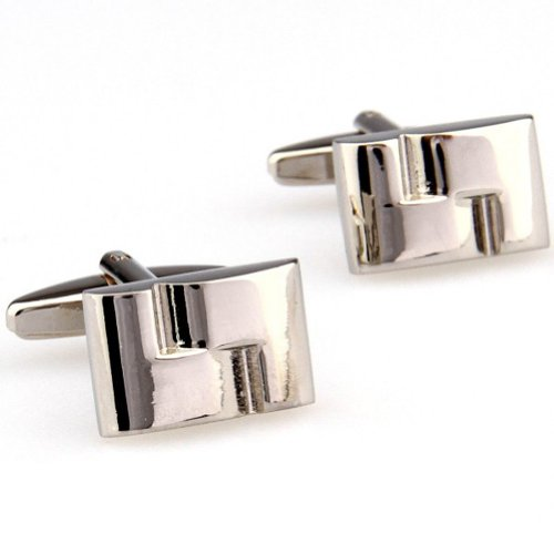 Beour White-gold-plated-silver Classic Silver Copper ?Rectangle Cufflinks