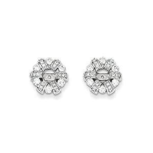 Christmas Sale -14K White Gold Diamond Circle Earring Jacket - Excellent Gift