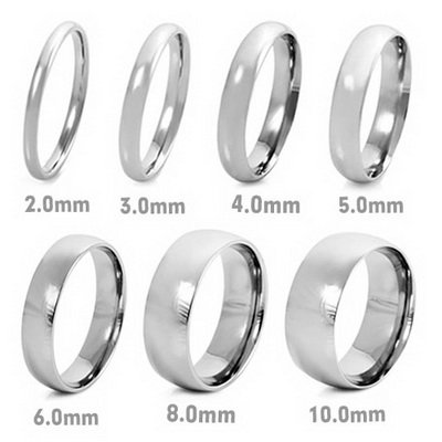 MENS Silver Stainless Steel Rings Wedding Band 2mm Wide (Size 6)