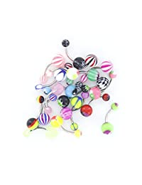 Imported 20Pcs Mixed Color & Pattern Stainless Steel Barbell Navel Belly Ring Bar Piercing Jewelry